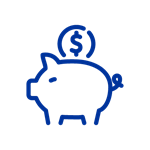 Dark blue icon of coin going into piggy bank