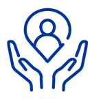 Dark blue icon of hands holding up a persona pin