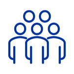 Dark blue icon of outlines of five people