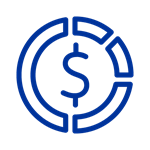 Dark blue icon of dollar sign inside circle