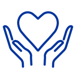 Dark blue icon of hands holding up heart